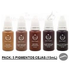 Pack 5 Pigmentos colores cejas (15 mL)