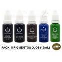 Pack 5 Pigmentos colores ojos (15 mL)