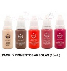 Pack 5 Pigmentos colores areola (15 mL)