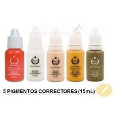 Pack 5 Pigmentos colores correctores (15 mL)